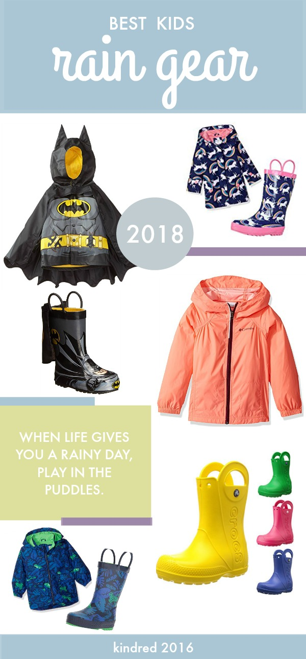 Rain jackets and boots for toddlers and young children