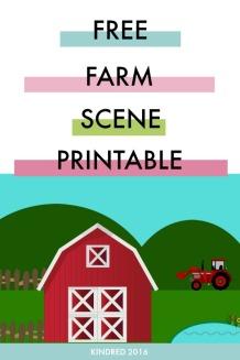 Free printable kids farm craft scene