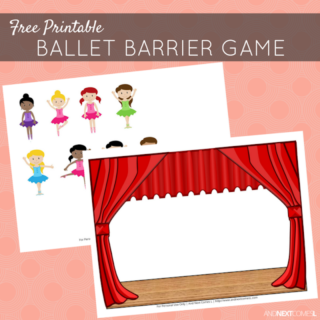 free printable ballet speech therapy barrier game