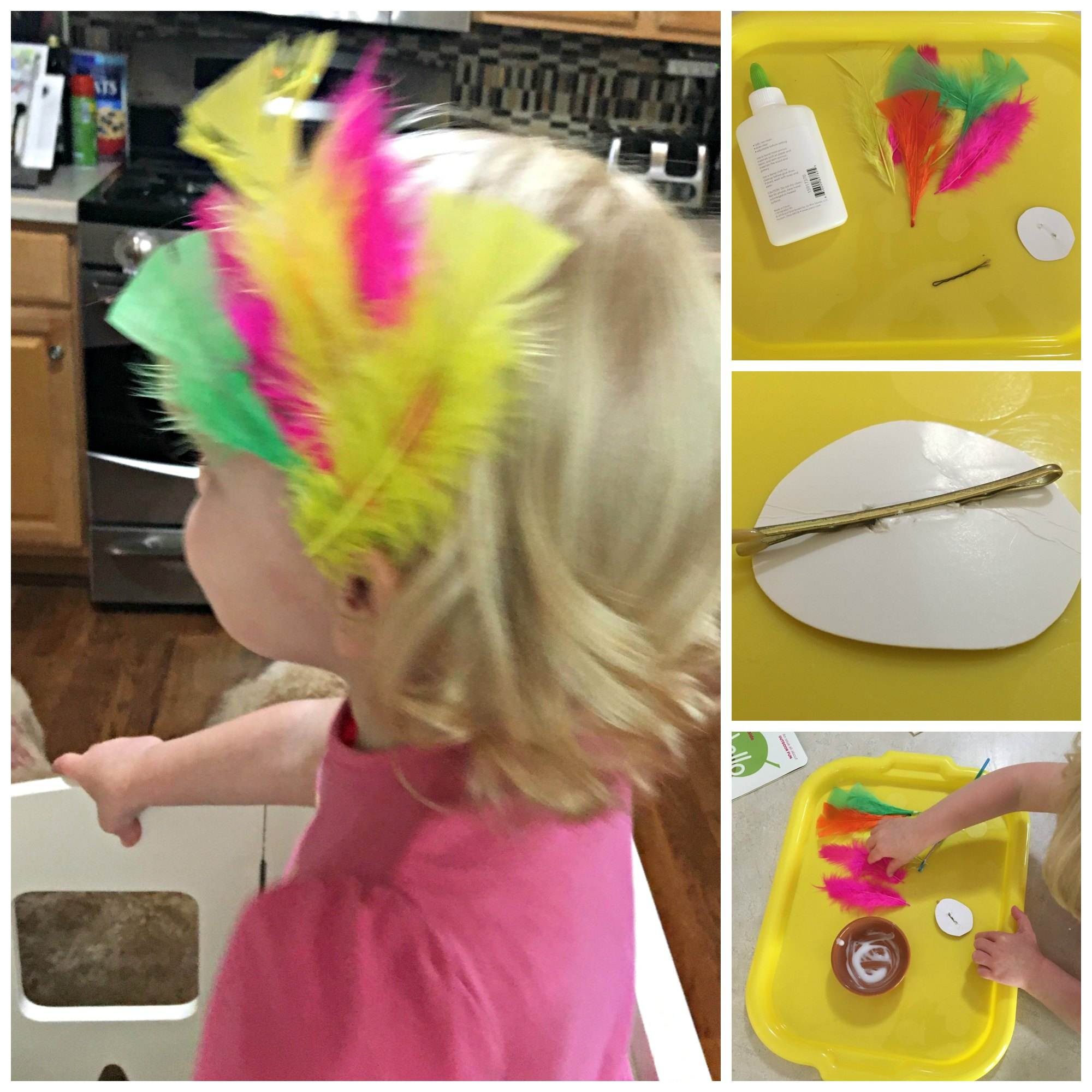 feather hair clip kids craft
