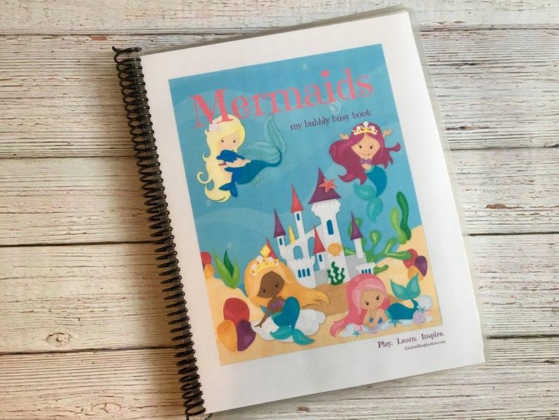 mermaid printable busy book learning binder
