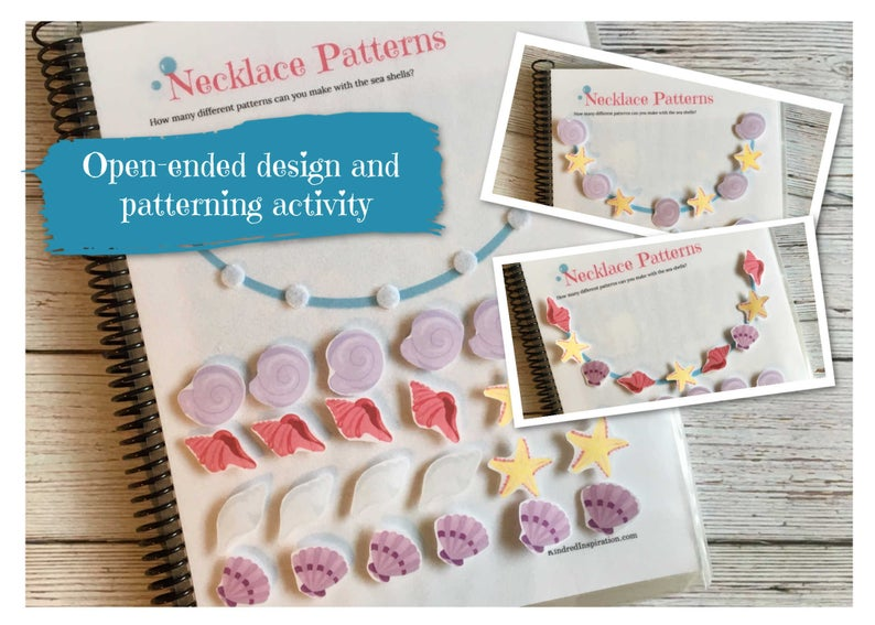 mermaid printable busy book patterning activity
