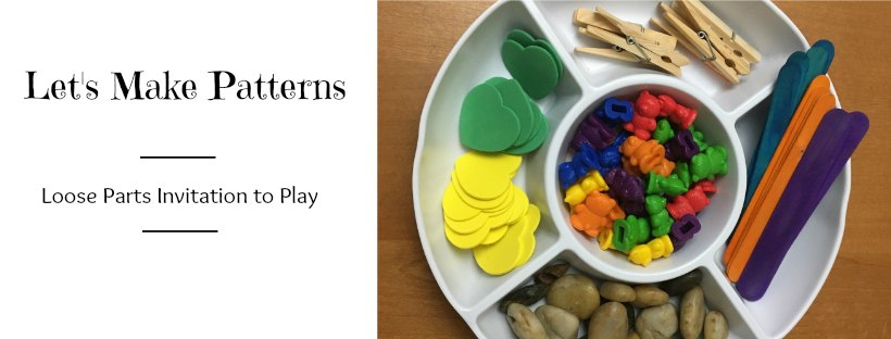 Loose parts pattern invitation to play kids activities
