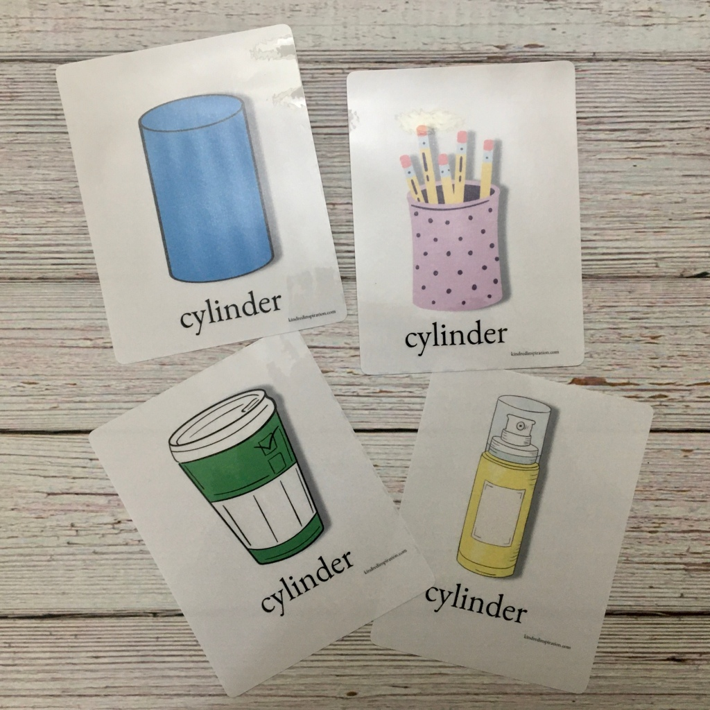 free printable cylinder 3 d shape flash cards
