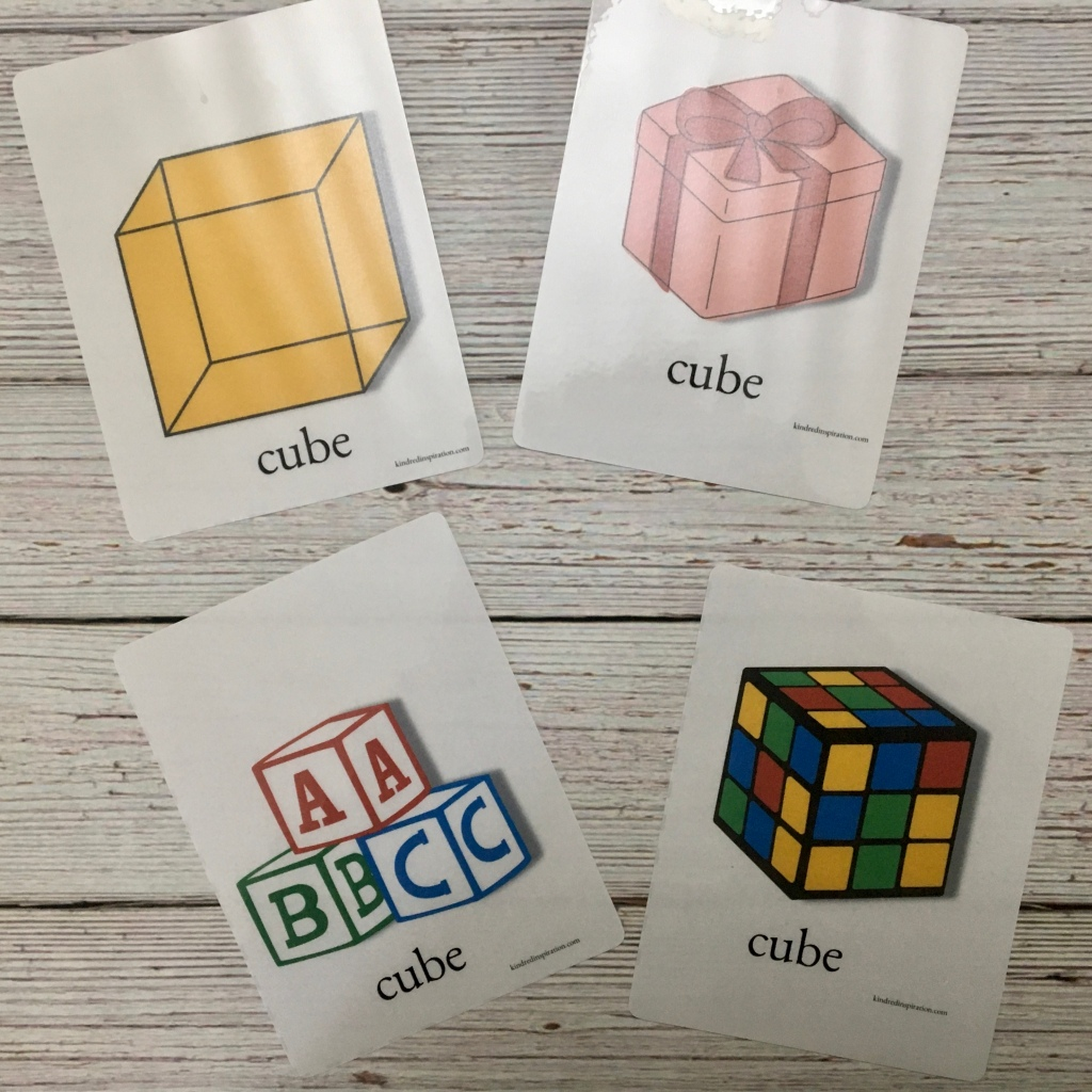 free printable cube 3 d shape flash cards